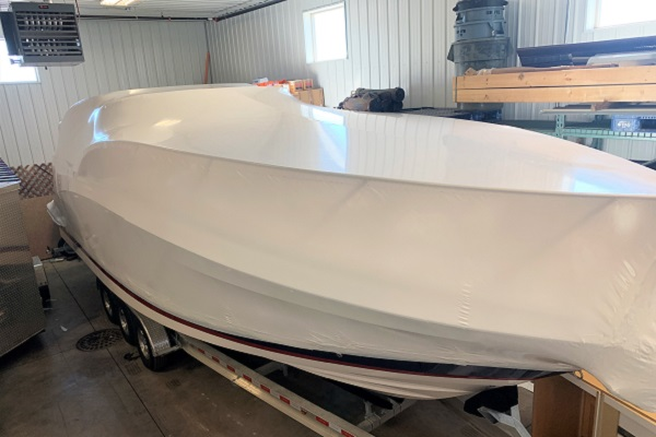 Boat Wrapped for Transport to East Coast
